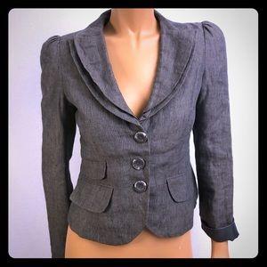 Sandra Angelozzi gray blazer double lapel Sz 32